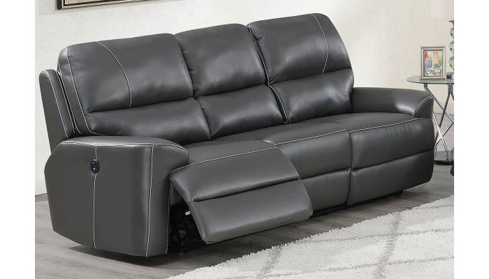 Recent Pacifica Gray Power Reclining Sofas Pertaining To Talbot Grey Leather Power Recliner Sofa (View 17 of 20)