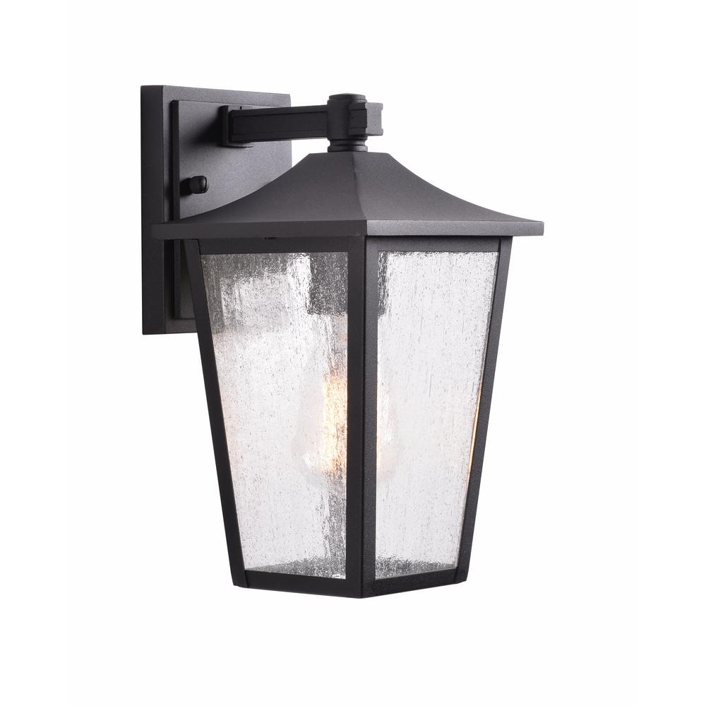 Recent Palma Black/clear Seeded Glass Outdoor Wall Lanterns Inside Home Decorators Collection 1 Light Black Aluminum Outdoor (View 9 of 20)
