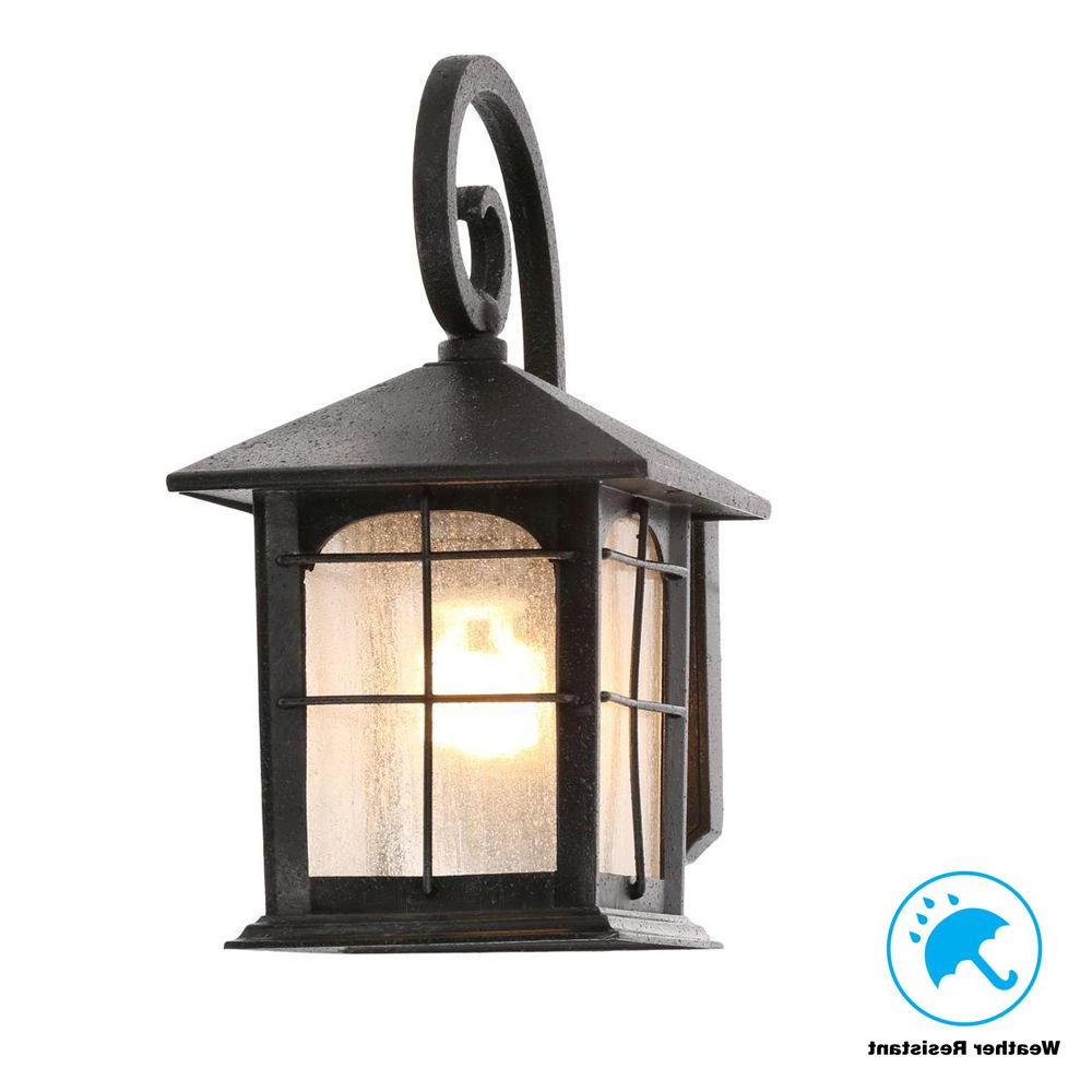 Recent Payeur Hammered Glass Outdoor Wall Lanterns Within Home Decorators Collection Brimfield 1 Light Aged Iron (View 8 of 20)