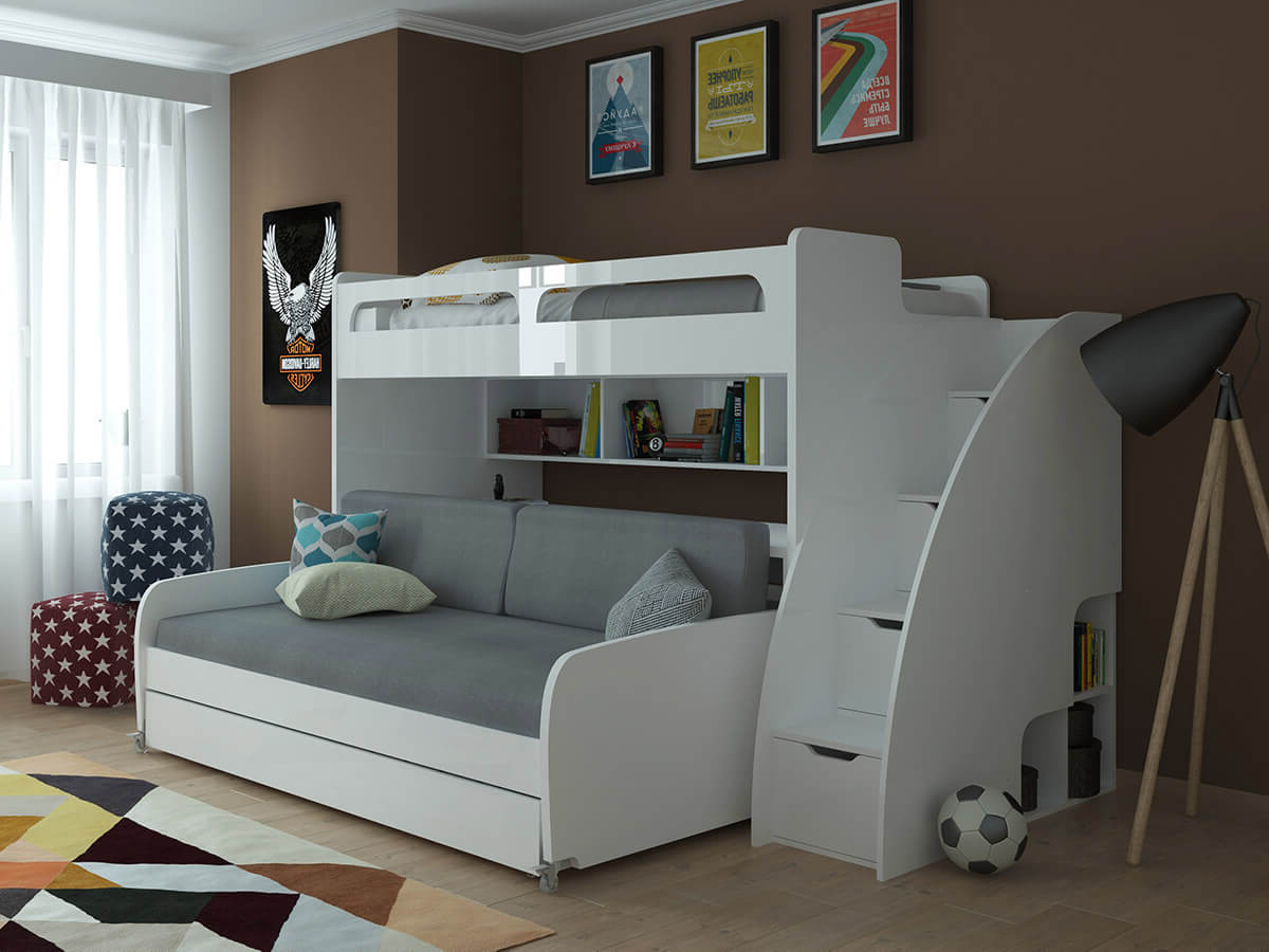 Recent Twin Over Twin Xl Bunk Bed With Sofa, Desk And Trundle Bel In Twin Nancy Sectional Sofa Beds With Storage (View 5 of 20)