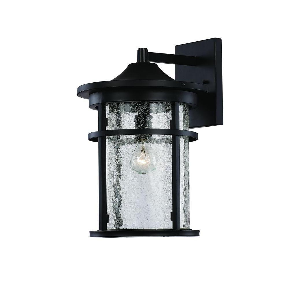 Recent Vendramin Black Glass Outdoor Wall Lanterns Inside Bel Air Lighting 1 Light Black Outdoor Crackled Outdoor (View 3 of 20)
