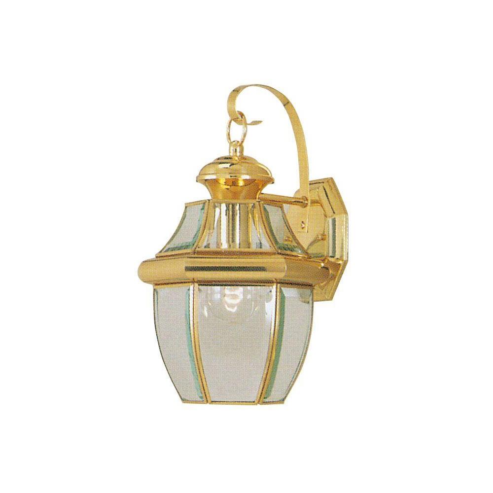 Recent Wrentham Beveled Glass Outdoor Wall Lanterns Inside Livex Lighting 1 Light Bright Brass Outdoor Wall Lantern (View 15 of 20)