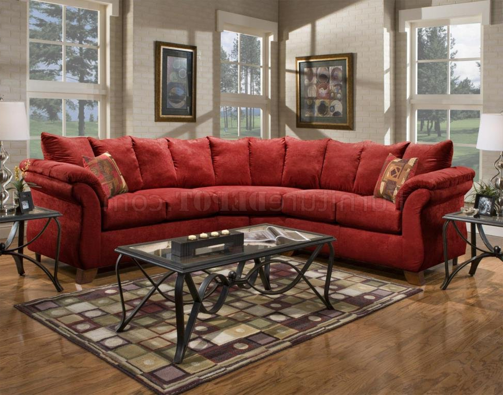 Red Fabric Modern 2pc Sectional Sofa W/wooden Legs Inside Popular Red Sofas (View 9 of 20)