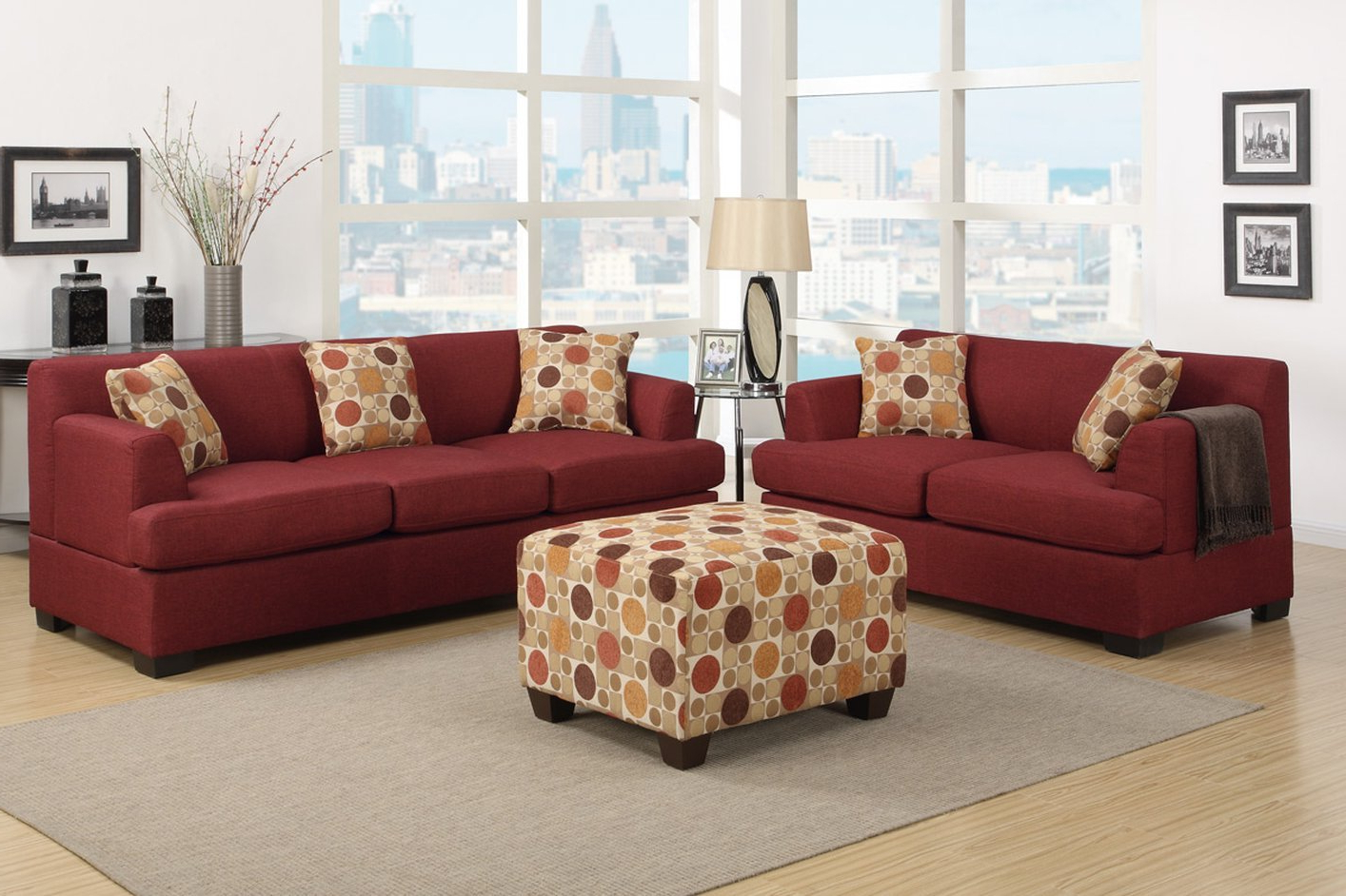 Red Sofas Inside Popular Poundex Montreal Iv F7963 Red Fabric Sofa – Steal A Sofa (View 13 of 20)