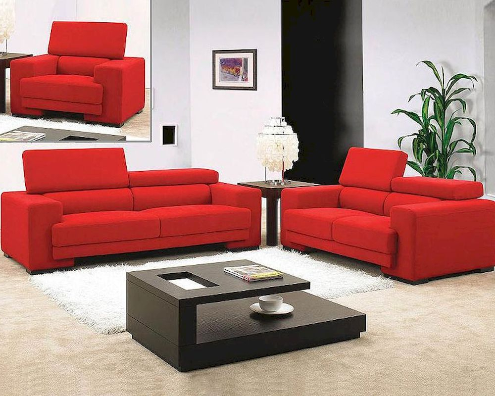 Red Sofas Throughout Most Current Red Fabric Sofa Set 44l (View 5 of 20)