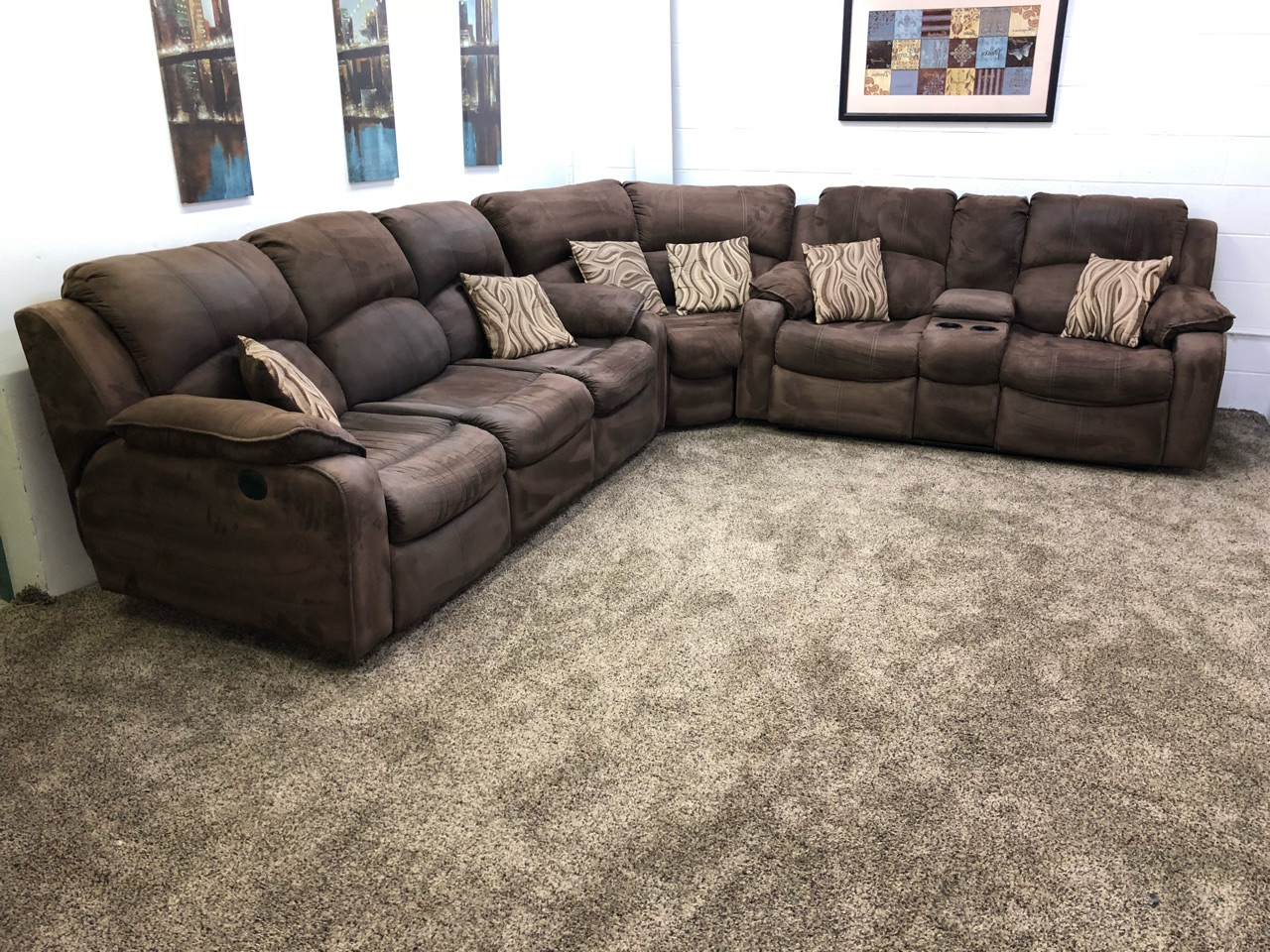 (reserved) #1260 3 Piece Dark Brown Microfiber Power In 2019 Raven Power Reclining Sofas (View 6 of 20)