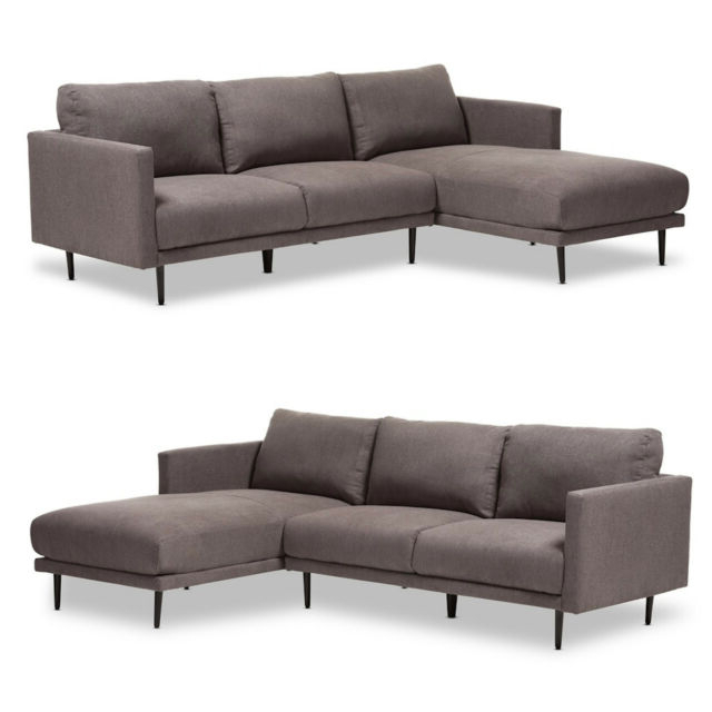 Retro Grey Fabric Left Or Right Facing Chaise Sectional With Regard To Famous Dulce Mid Century Chaise Sofas Light Gray (View 9 of 20)