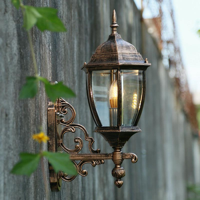 Retro Waterproof Outdoor Lantern Coach Light Black/brass Throughout Latest Garneau Black Wall Lanterns (View 7 of 20)