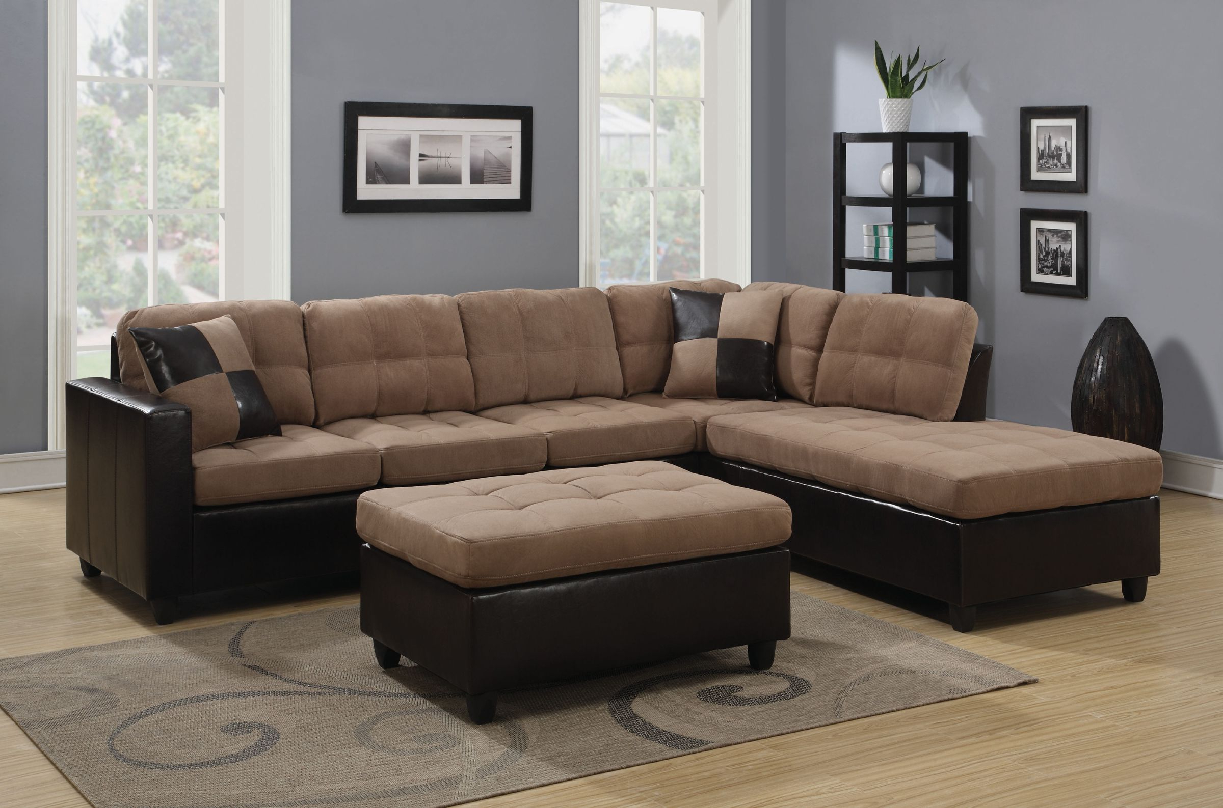 Reversible Tan Microfiber Sectional Sofa With Chaise Set Within Most Recently Released Clifton Reversible Sectional Sofas With Pillows (View 5 of 20)