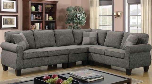 Rhian Transitional Sectional Sofa W/ Pillows In Dark Gray Inside Current Polyfiber Linen Fabric Sectional Sofas Dark Gray (View 16 of 20)