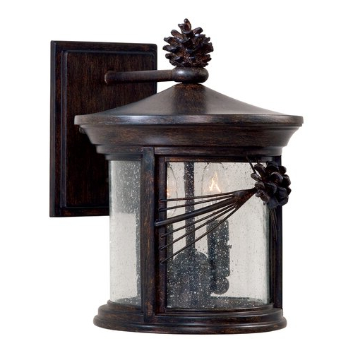 Robertson 2 – Bulb Seeded Glass Outdoor Wall Lanterns Inside Well Liked Millwood Pines Accomac Iron Oxide 2 – Bulb  (View 20 of 20)
