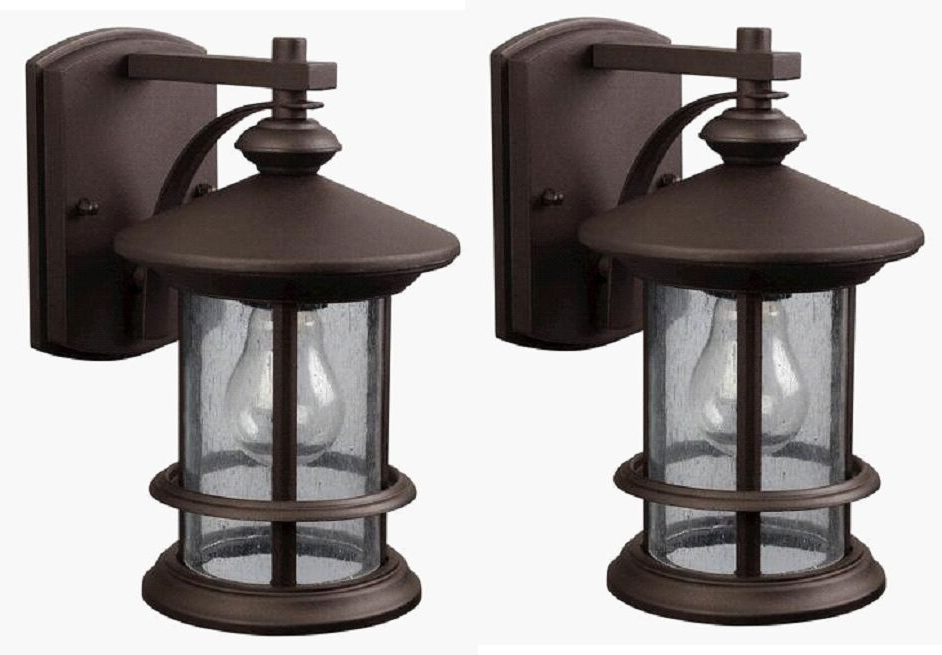 Robertson 2 – Bulb Seeded Glass Outdoor Wall Lanterns Intended For Recent 2 Pack Bronze Outdoor Wall Mount Lantern Lights Exterior (View 16 of 20)
