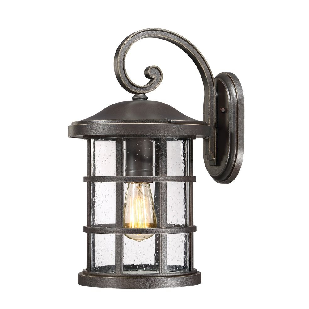 Robertson 2 – Bulb Seeded Glass Outdoor Wall Lanterns With Regard To 2018 Seeded Glass Outdoor Wall Light Bronze Quoizel Lighting (View 9 of 20)