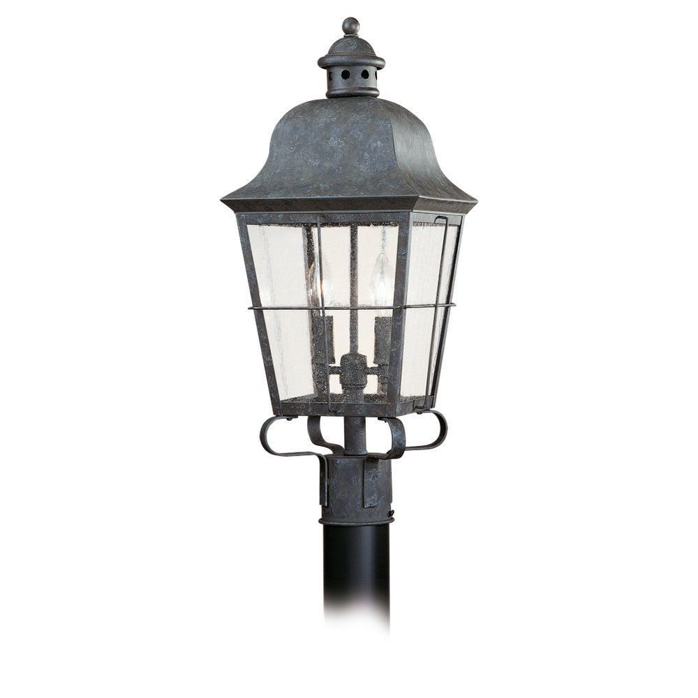 Robertson 2 – Bulb Seeded Glass Outdoor Wall Lanterns Within Trendy Sea Gull Lighting 8262 46 Chatham 2 Light Outdoor Post (View 4 of 20)