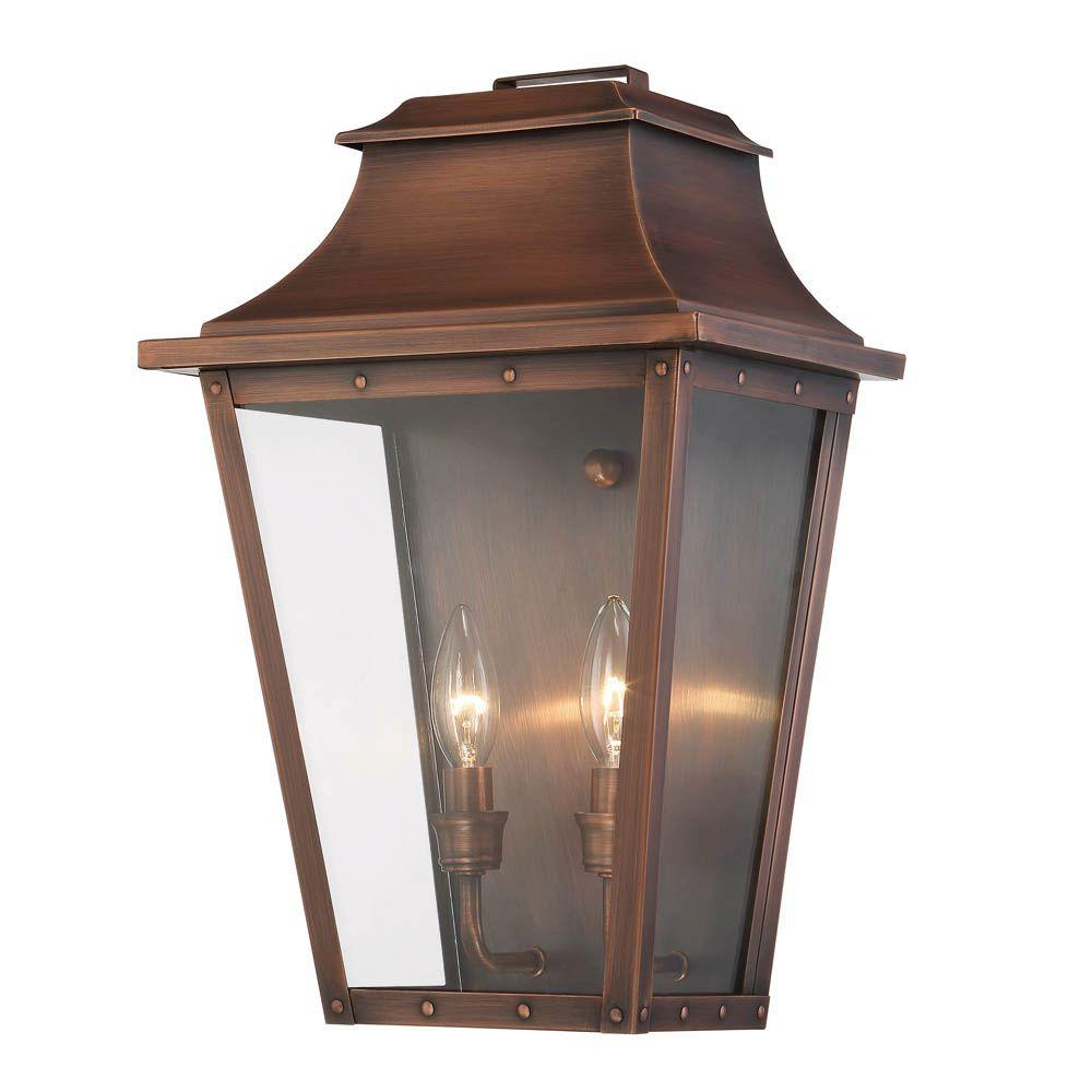 Rockefeller Black 2 – Bulb  Outdoor Wall Lanterns Intended For Fashionable Acclaim Lighting Coventry Collection 2 Light Copper Patina (View 4 of 20)