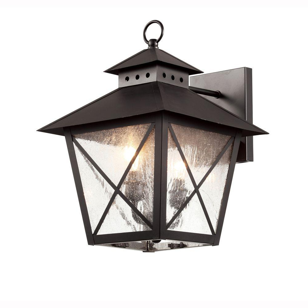 Rockefeller Black 2 – Bulb  Outdoor Wall Lanterns Within Recent Bel Air Lighting Farmhouse 2 Light Outdoor Black Wall (View 9 of 20)