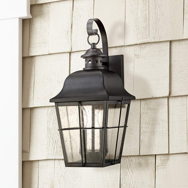 """Roden Black 3 Bulb Outdoor Wall Lanterns Pertaining To Most Up To Date Quoizel Millhouse 18"""" High Black Outdoor Wall Light (View 6 of 20)"""