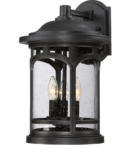 Roden Black 3 Bulb Outdoor Wall Lanterns Throughout Best And Newest Quoizel Mbh8411k Marblehead 3 Light 18 Inch Mystic Black (View 20 of 20)