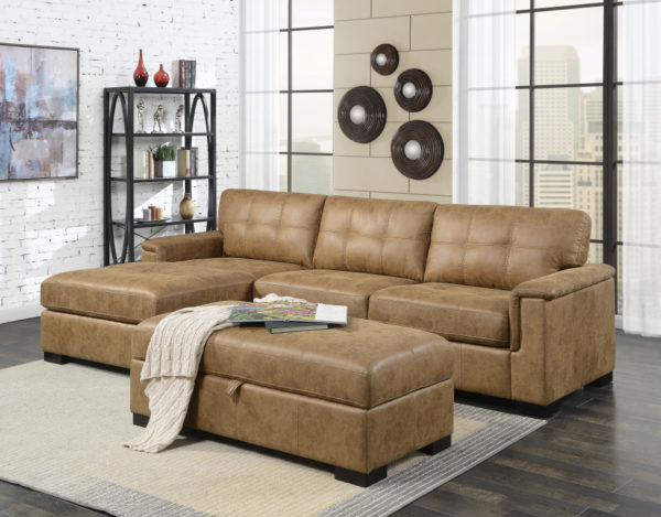 Saddle Brown Faux Leather Sofa Sectional With Chaise In In Current 3pc Faux Leather Sectional Sofas Brown (View 5 of 20)
