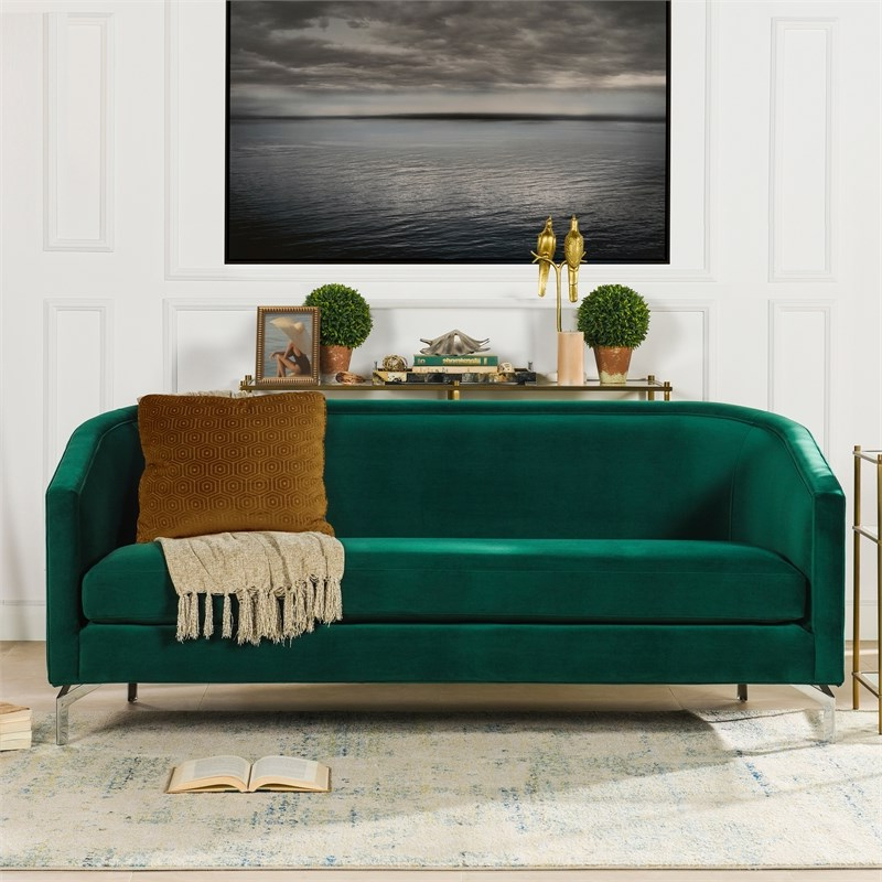 Sandy Wilson Home Annette Modern Sofa With Polished Metal With Most Recently Released Annette Navy Sofas (View 20 of 20)