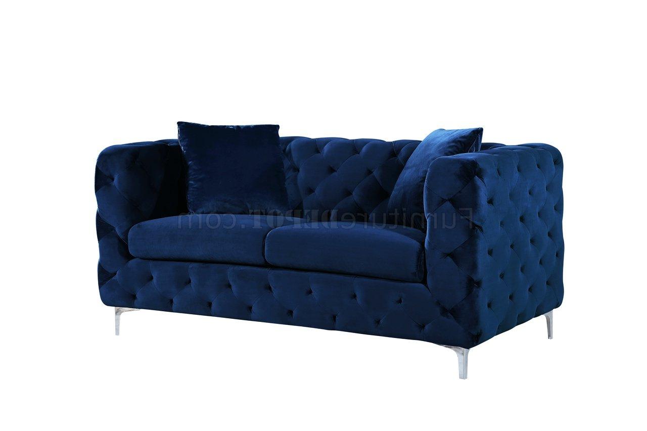 Scarlett Blue Sofas Inside Most Current Scarlett Sofa 663 In Navy Velvet Fabricmeridian W/options (View 4 of 20)