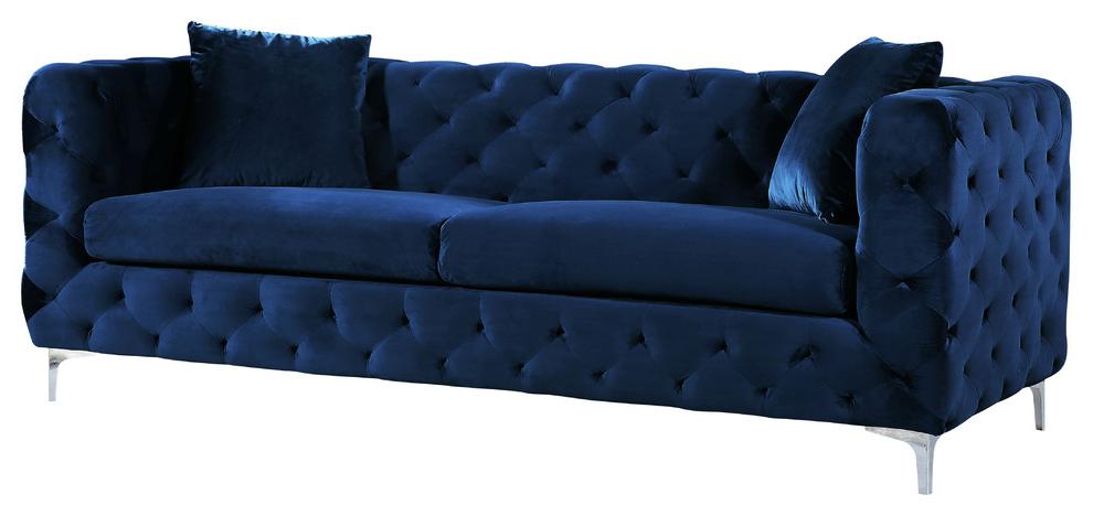 Scarlett Blue Sofas With Newest Scarlett Cream Velvet Sofa – Contemporary – Sofas – (View 11 of 20)