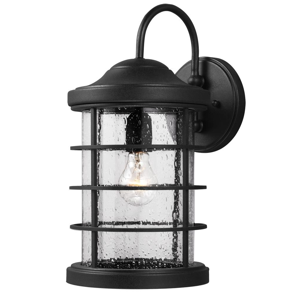 Sea Gull Sauganash One Light Outdoor Wall Lantern In Black For 2018 Emaje Black Seeded Glass Outdoor Wall Lanterns (View 10 of 20)
