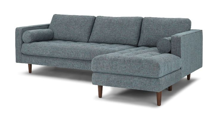 Sectional Sofa, Mid Inside Dove Mid Century Sectional Sofas Dark Blue (View 7 of 20)