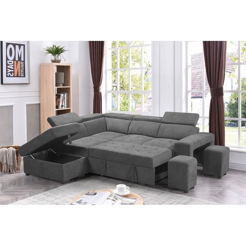 Sectional Sofa Sleeper L Shaped Pull Out Bed Storage With Regard To Famous Hartford Storage Sectional Futon Sofas (View 11 of 20)