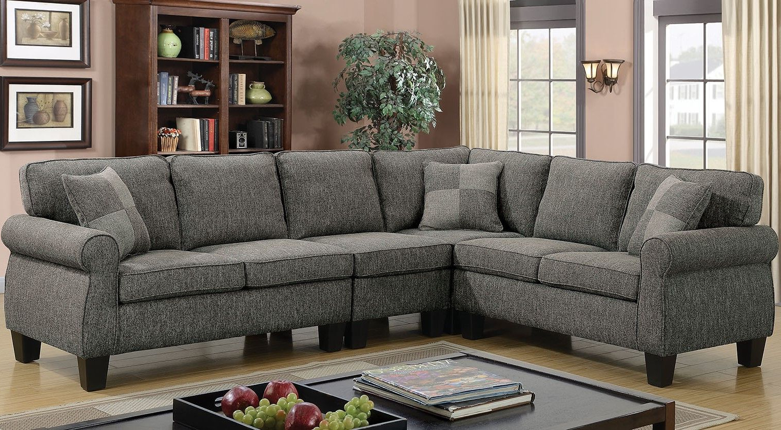 Sectional Sofas In Gray In Fashionable Rhian Transitional Sectional Sofa W/ Pillows In Dark Gray (View 5 of 20)