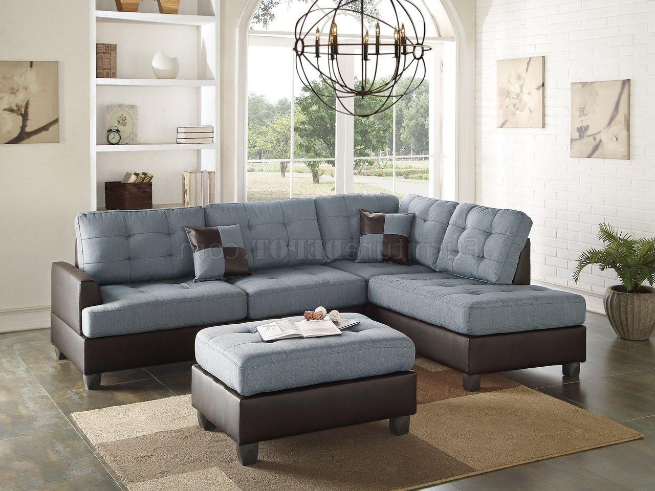 Sectional Sofas In Gray Regarding Preferred F6858 Sectional Sofa 3pc In Grey Fabricboss (View 2 of 20)