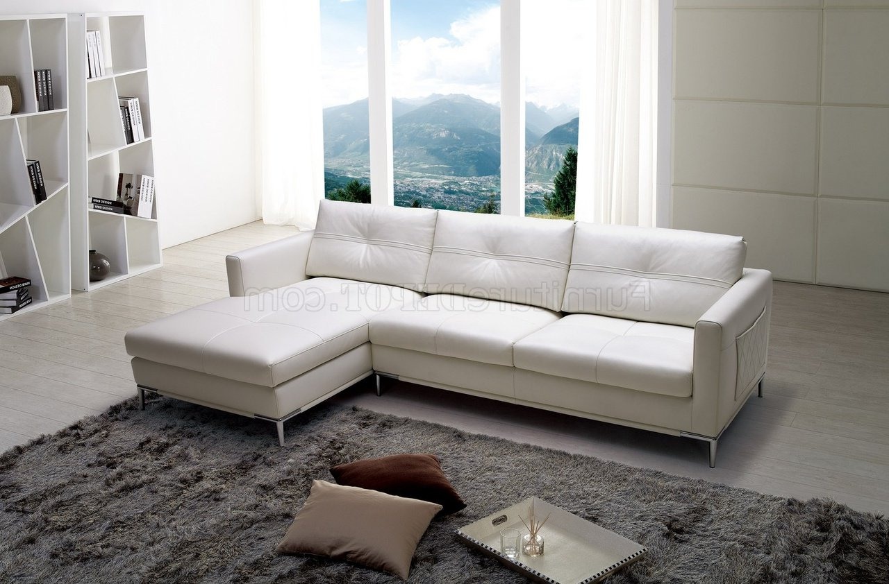 Sectional Sofas In White For Recent Slim Sectional Sofabeverly Hills In White Full Leather (View 6 of 20)