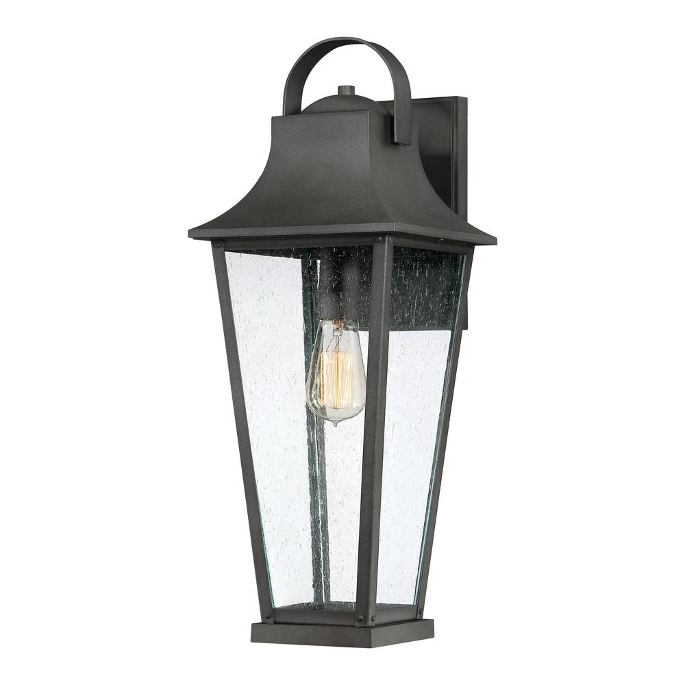 Seeded Glass Outdoor Wall Light Black Galvestonquoizel Throughout Widely Used Cherryville Black Seeded Glass Outdoor Wall Lanterns (View 6 of 20)