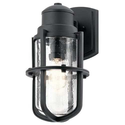 Seeded Glass Outdoor Wall Light Black Kichler Lighting At With Regard To Latest Emaje Black Seeded Glass Outdoor Wall Lanterns (View 15 of 20)