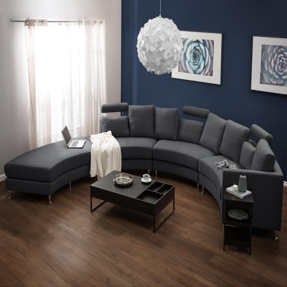 Setoril Modern Sectional Sofa Swith Chaise Woven Linen Inside Newest Modern Curved Sectional Sofa (View 12 of 20)