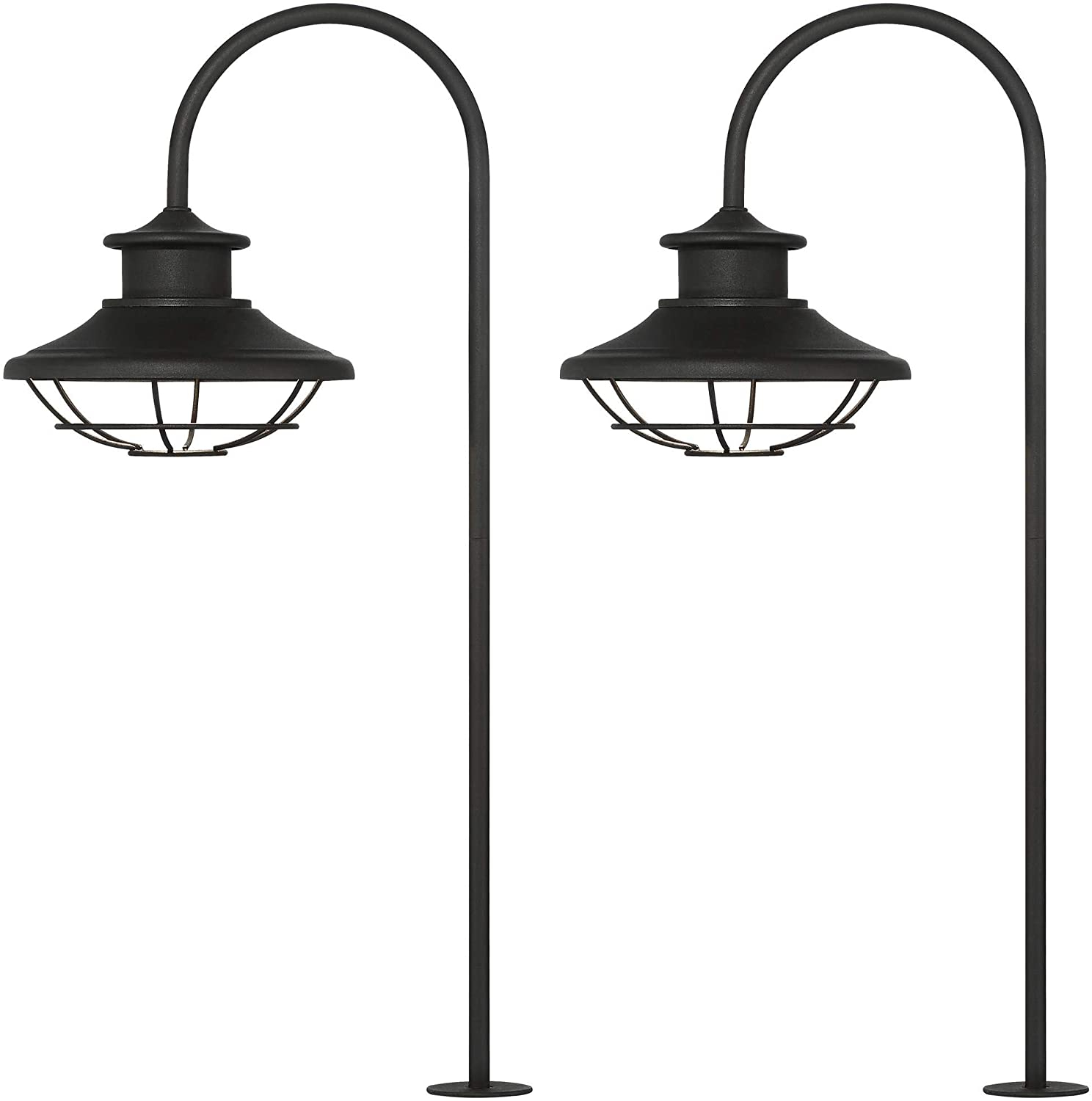 Sheard Textured Black 2 – Bulb Wall Lanterns For Newest Braden 23 1/2″ High Textured Black Led Path Lights Set Of (View 16 of 20)