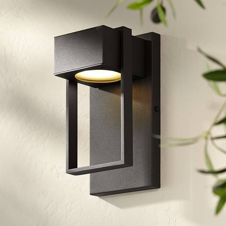 """Sheard Textured Black 2 – Bulb Wall Lanterns With Regard To Well Known Pavel 9 1/2"""" High Textured Black Led Outdoor Wall Light (View 2 of 20)"""