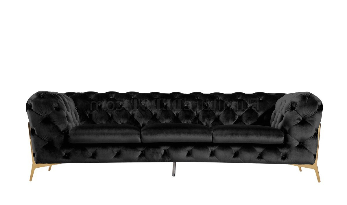 Sheila Sofa Set 3pc In Black Velvet Fabricvig Inside Newest 3pc French Seamed Sectional Sofas Velvet Black (View 14 of 20)