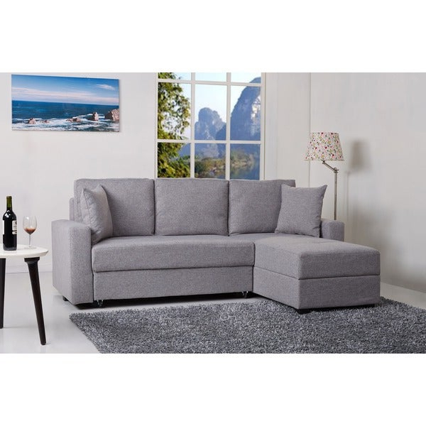 Shop Aspen Ash Convertible Sectional Storage Sofa Bed Within 2019 Liberty Sectional Futon Sofas With Storage (View 20 of 20)