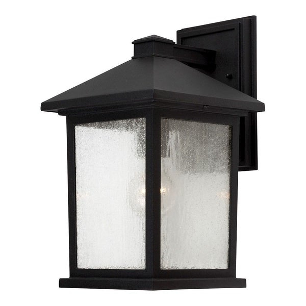 Shop Black Outdoor Wall Lantern With Clear Seeded Glass Intended For 2018 Brook Black Seeded Glass Outdoor Wall Lanterns With Dusk To Dawn (View 16 of 20)