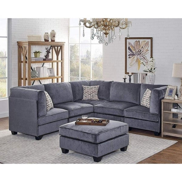 Shop Zelmira Gray Velvet 6pc Modular Sectional Sofa With Regard To 2018 French Seamed Sectional Sofas In Velvet (View 11 of 20)