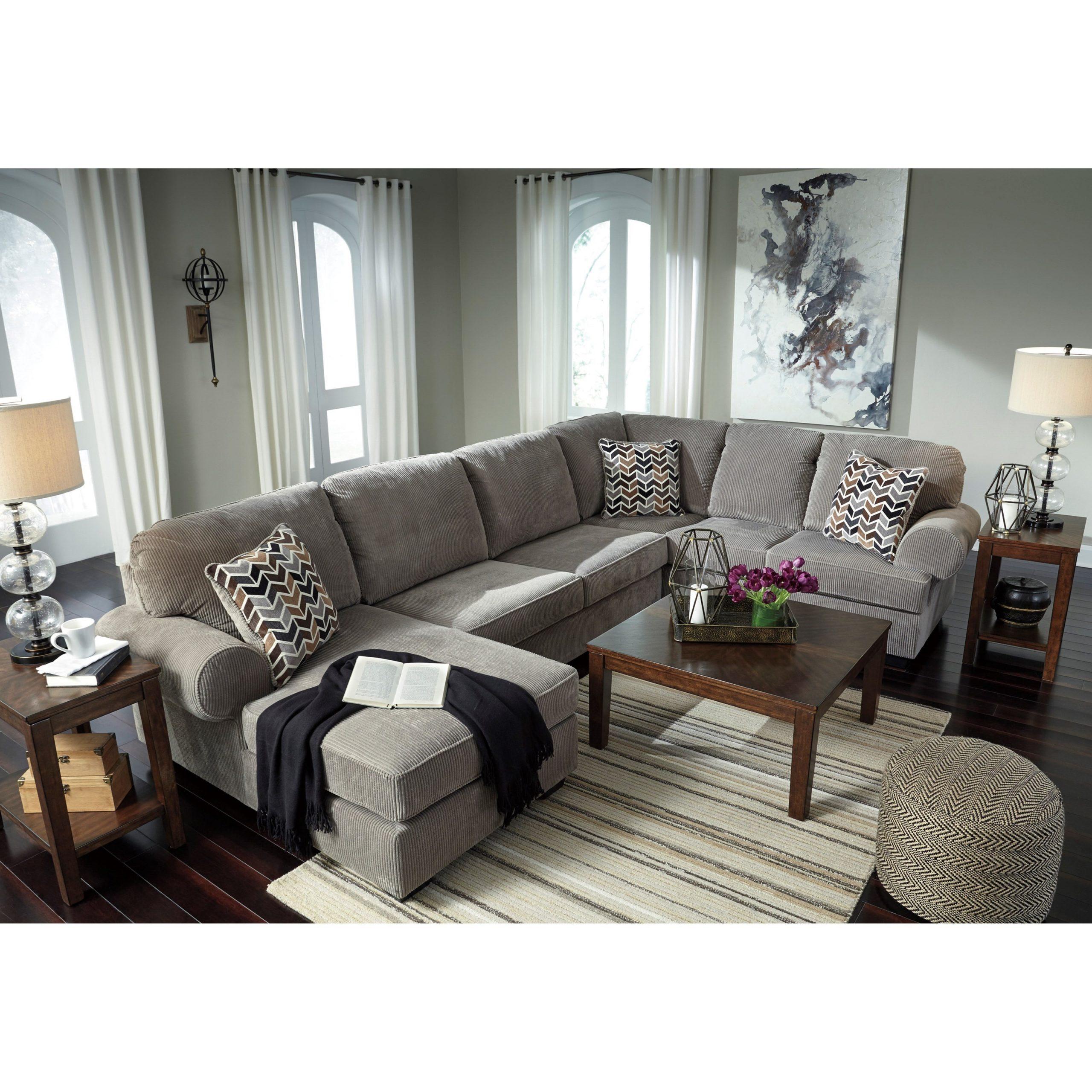 Signature Designashley Jinllingsly Contemporary 3 Regarding Fashionable 3pc Polyfiber Sectional Sofas (View 4 of 20)