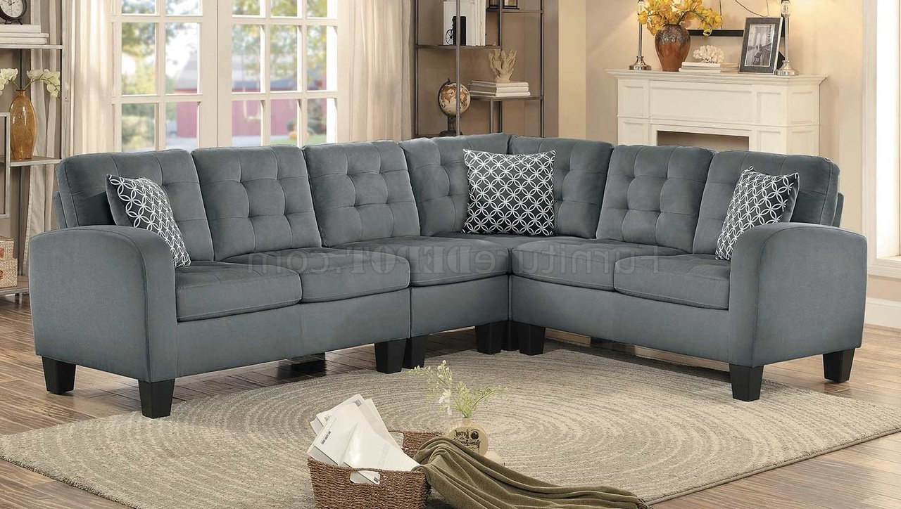 Sinclair Sectional Sofa 8202gry Sc In Grey Fabric Pertaining To Recent Noa Sectional Sofas With Ottoman Gray (View 10 of 20)
