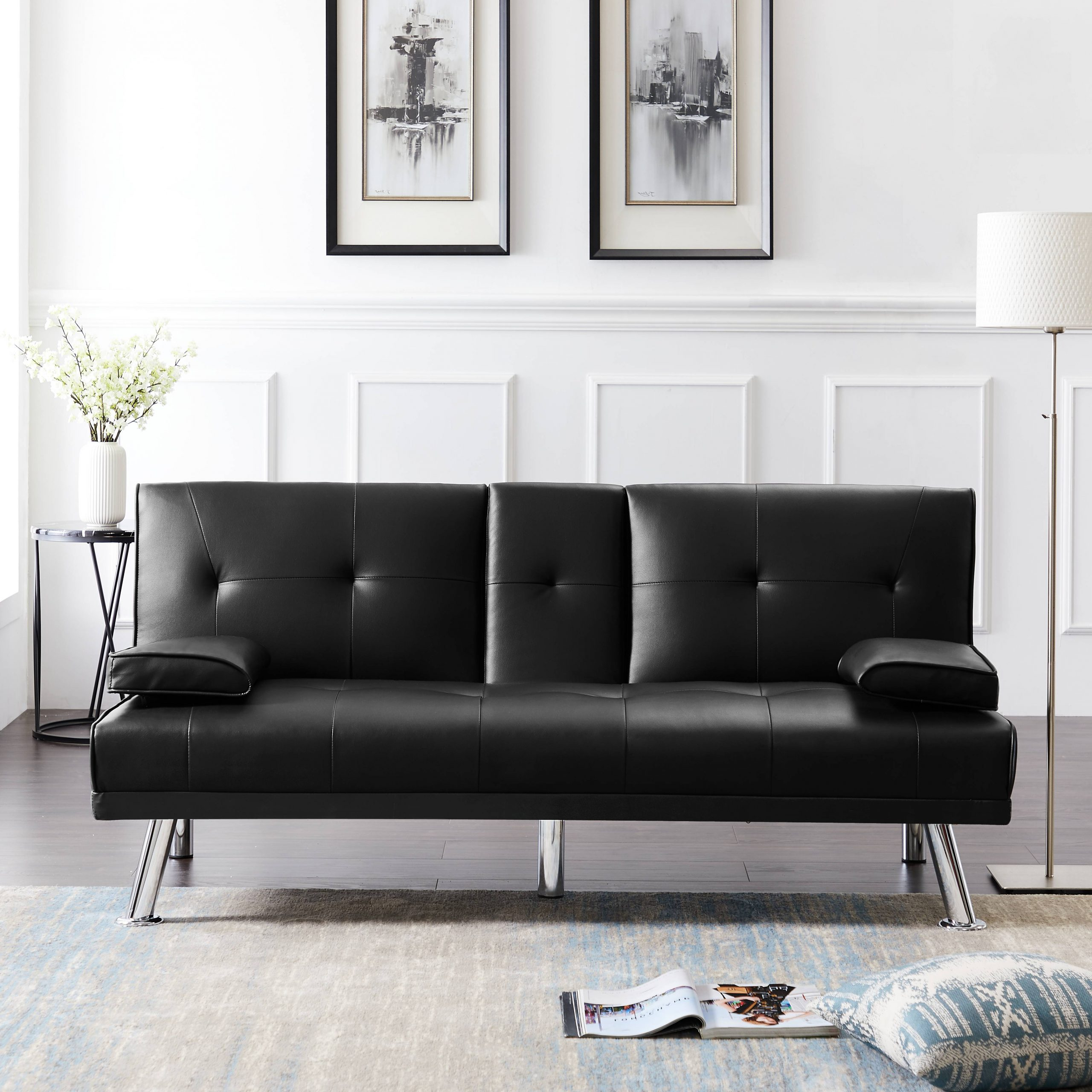 Sleeper Sofa, Urhomepro Modern Faux Leather Upholstery With Current Celine Sectional Futon Sofas With Storage Reclining Couch (View 10 of 20)