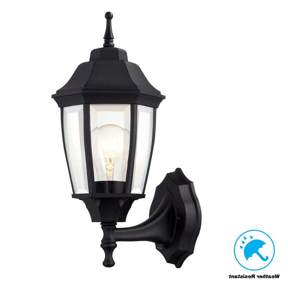 Socorro Black Outdoor Wall Lanterns Pertaining To Latest Hampton Bay 1 Light Black Dusk To Dawn Outdoor Wall (View 18 of 20)