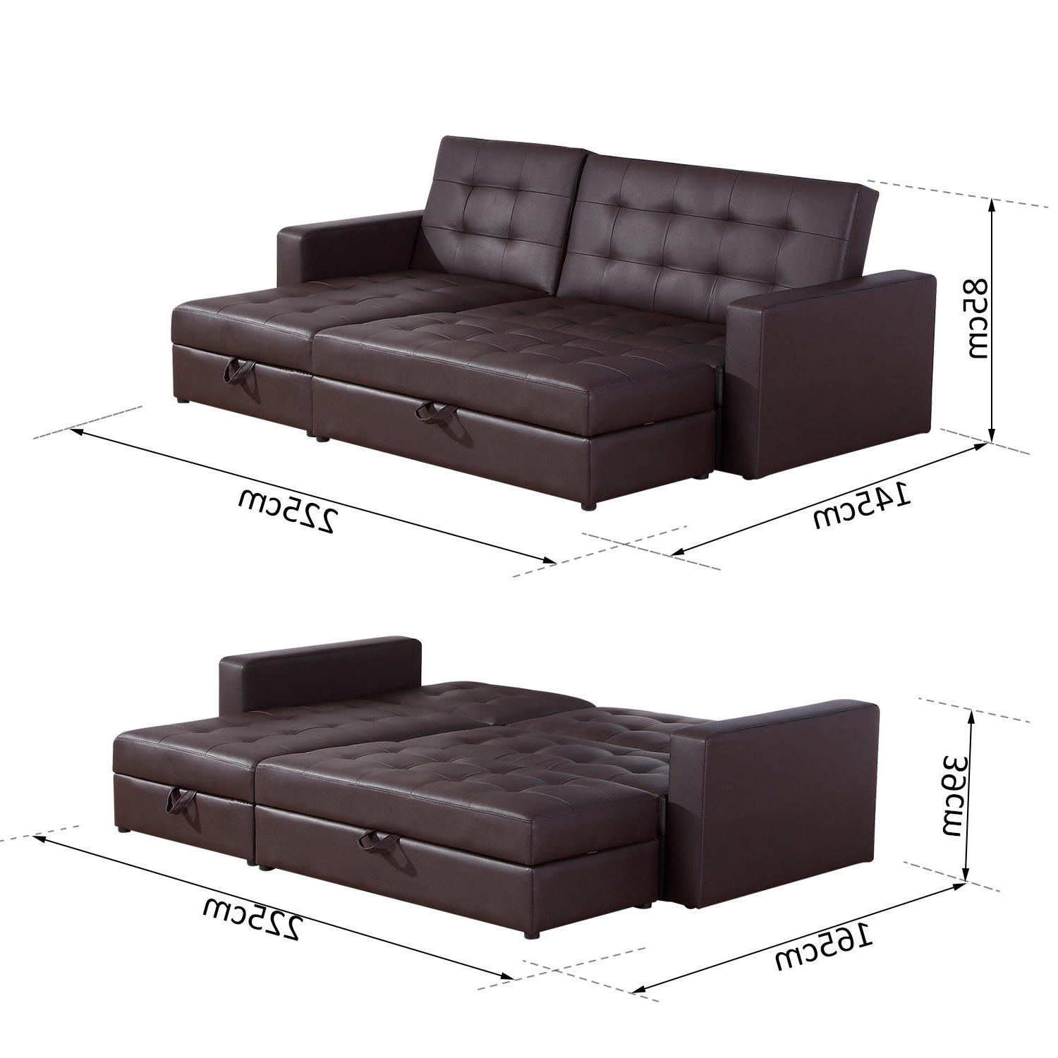 Sofa Bed Storage Sleeper Chaise Loveseat Couch Sectional Intended For Best And Newest Hartford Storage Sectional Futon Sofas (View 20 of 20)
