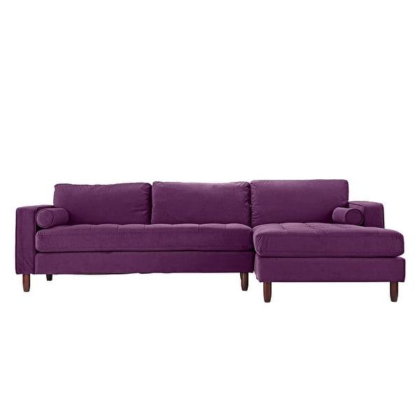 Somerset Velvet Mid Century Modern Right Sectional Sofas Inside Widely Used Mid Century Modern Tufted Microfiber Velvet Sectional Sofa (View 1 of 20)