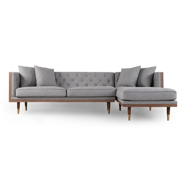 Somerset Velvet Mid Century Modern Right Sectional Sofas Pertaining To Most Popular Shop Kardiel Woodrow Neo Mid Century Modern Sofa Sectional (View 8 of 20)