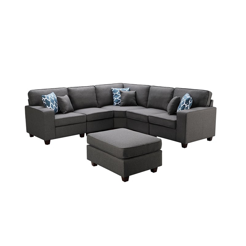 Sonoma Dark Gray Fabric 6pc Modular Sectional Sofa And Regarding Most Up To Date Dream Navy 3 Piece Modular Sofas (View 14 of 20)