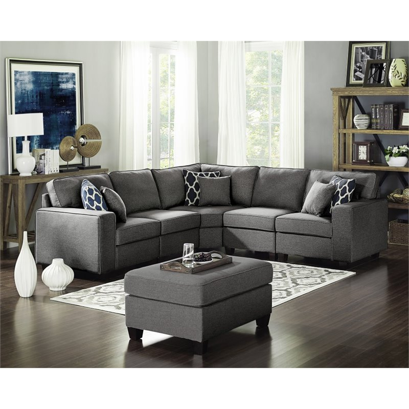 Sonoma Dark Gray Linen 6pc Modular Sectional Sofa And Intended For Preferred Sectional Sofas In Gray (View 11 of 20)